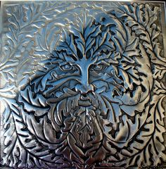 Green Man image in fine English pewter. Traditional repousse work pewter artwork by British artist Sharon Dickinson. Jack in the Green is a common Holly King, Aluminum Foil Art, Symbolic Art, Elephant Pictures, Pattern And Decoration, Nature Spirits, Man Images, Celtic Art, Green Man