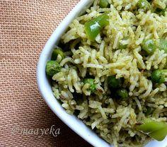 Maayeka - Authentic Indian Vegetarian Recipes: Chutney Pulao/Minty Pilaf