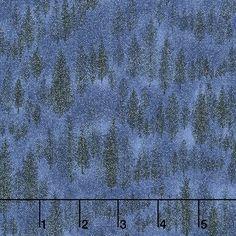 Forest Frost II Glitter - Trees Night Sky Glitter Yardage