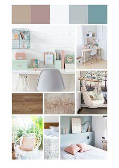 Scandinavian style girls room moodboard