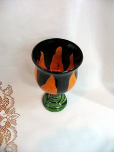 Pottery Wine Goblet Hand Painted Ceramic Floral Wine Glass Orange Tiger Lily on Etsy by artistsloftppaquin1 on Etsy
