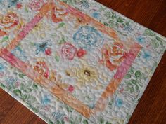 Quilted Table Runner in Watercolor Like Flowers of by SusiQuilts