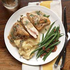Stuffed Chicken and Herb Gravy with Creamy Polenta   MyRecipes.com