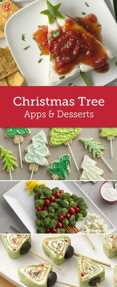 Trim your Christmas party spread with tree-shaped appetizers and sweets. With recipes that only require 10 minutes total, these adorable ideas are too clever to pass up.