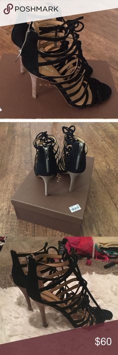 Coach Salvadora lace up black suede heels-EUC Size 7, Coach Salvadora lace up black suede heels. I wore these once and they are in immaculate condition, only signs of use are the small scuffing on the bottom of shoes, other than that no signs of wear. Coach Shoes Heels
