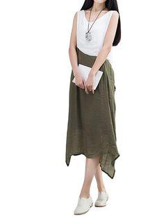 Sale 27% (22.69$) - Casual Women Contrast Color Patchwork Irregular Cotton Linen Dress