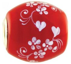 """Fenton Artisan Crafted Glass Bead - Two Hearts Are One - .76"""" Oval"""