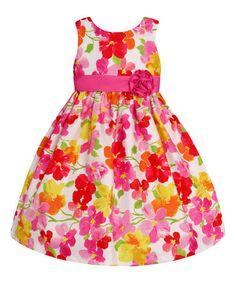 Look at this #zulilyfind! White & Pink Sash Floral Dress - Toddler & Girls #zulilyfinds