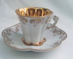 LOVELY VINTAGE LIMOGES CAMILLE THARAUD CABINET GILDED INTERIOR CUP AND SAUCER