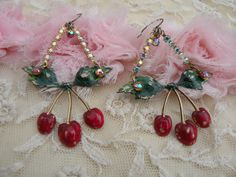 BING cherry earrings assemblage shabby chic fresh summer vintage style spring mothers day vintage style