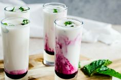 in love with these creamy coconut lime mojito shooters with blueberry swirl. Fall in love with these creamy coconut lime mojito shooters with blueberry swirl. - -Fall in love with these creamy coconut lime mojito shooters with blueberry swirl. Party Drinks, Fun Drinks, Yummy Drinks, Yummy Food, Beverages, Mezcal Cocktails, Summer Cocktails, Sweet Cocktails, Refreshing Summer Drinks