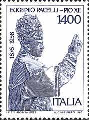 25º anniversario della morte di papa Pio XII- 21 marzo 1983  1400 L.•Ritratto di papa Pio XII•azzurro•Dettagli