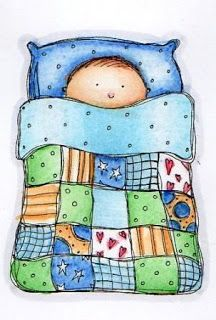 Digital Stamps - Baby under a Patchwork Quilt