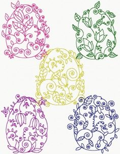 Stickmuster Lineart Decorative Easter Eggs 01