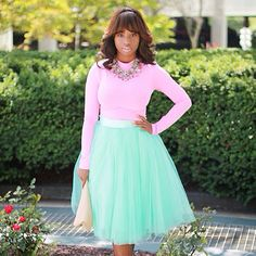 Space 46 mint tulle skirt, pink top, statement necklace, street style, fashion blogger