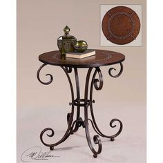 Tuscan End Table Scroll Designed Metal Base Faux Leather Top Studded Accents Iron Furniture, Steel Furniture, Accent Furniture, Wrought Iron Decor, Wrought Iron Gates, Dining Set, Dining Table, Uttermost Mirrors, Round Accent Table
