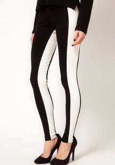 Multicolor Patchwork Long Skinny Cotton Blend Pants