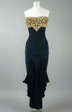 Adrian Strapless Evening Gown  1940s
