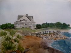 Gray Beach House Watercolor Painting