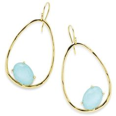 Ippolita 18K Rock Candy Tipped Oval Wire Earrings in Clear Quartz and Turquoise zlWO2