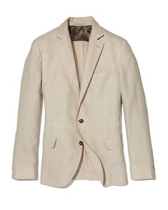 Three-Button Textured Linen-Blend Traditional Blazer