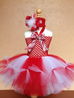 Christmas Tutu Dress and Hair Bow by Sammy Banany's by iguania03, $50.00