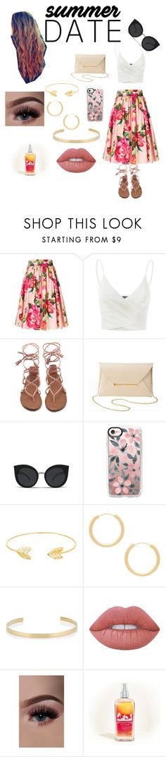 """Summer love"" by emily-macphee ❤ liked on Polyvore featuring Dolce&Gabbana, Doublju, Charlotte Russe, Casetify, Lord & Taylor, Elizabeth and James, Jennifer Fisher, Lime Crime and Hollister Co."