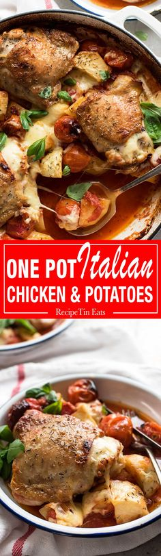 15 minutes prep: Chicken baked with a flavourful Italian sauce, studded with potatoes and cherry tomatoes and topped with cheese.