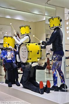 """MOSCHINO, """"Banging in public. Drummers like this"""", pinned by Ton van der Veer Shop Window Displays, Display Windows, Lion, Best Windows, Shop Fronts, Store Windows, New Shop, Retail Design, Boutique"""