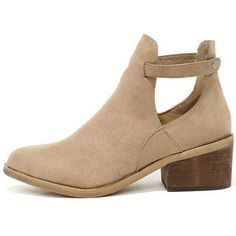Side Kicks Natural Suede Cutout Ankle Booties