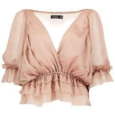Boohoo Evie Ruffle Detail Wrap Over Blouse | Boohoo ($30) ❤ liked on Polyvore featuring tops, blouses, flat top, frilly tops, pink ruffle blouse, wrap top and pink blouse