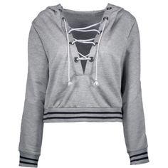 Loose Lace Up Hoodie Gray (£22) ❤ liked on Polyvore featuring tops, hoodies, gray hooded sweatshirt, gray hoodie, lace up front top, hooded pullover and hooded sweatshirt
