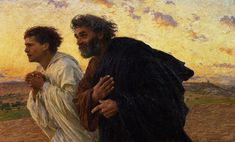 The Art Print featuring the painting The Disciples Peter And John Running To The Sepulchre On The Morning Of The Resurrection by Eugene Burnand