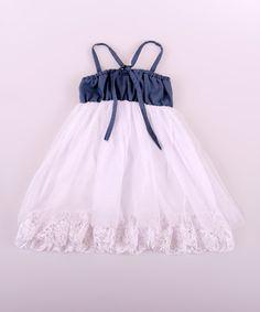 White Denim & Lace Babydoll Dress - Toddler & Girls | zulily