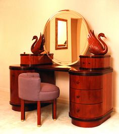 I love the swans carved on either side of the mirror, so placid. I'd like the vanity to be made of blonde wood, and possibly to have more of a frame around the mirror. Antique Vanity, Vintage Vanity, Art Deco Decor, Art Deco Design, Art Deco Furniture, Home Furniture, Antique Furniture, Art Deco Dressing Table, Dressing Tables
