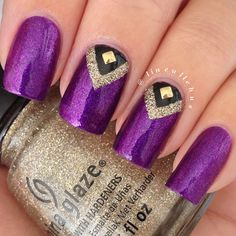 Super nails art purple and gold Ideas Purple Acrylic Nails, Gold Nail Art, Gold Nails, Nails Opi, Fun Nails, Nailart, Manicure Y Pedicure, Trendy Nail Art, Super Nails