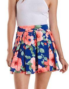 Pleated Floral Print Skater Skirt: Charlotte Russe #skirt #floral