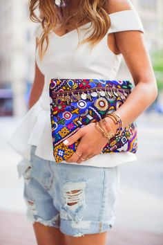 "Cameo the label's ""Your Song Bustier"" in Ivory featured on Aimee Song's post entitled ""Embroidered Bag and Chanel Espadrilles. Chanel Espadrilles, Estilo Fashion, Boho Fashion, Womens Fashion, Boho Clutch, Clutch Purse, Bohemian Mode, Boho Chic, Bohemian Style"