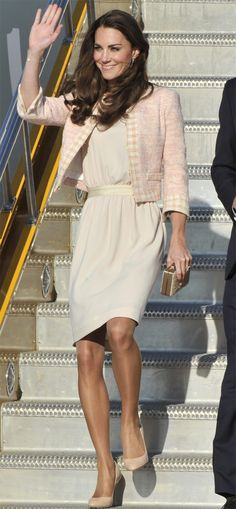 Kate &amp William - Joseph Cream Crepe Dress with Soft Pink Tweed