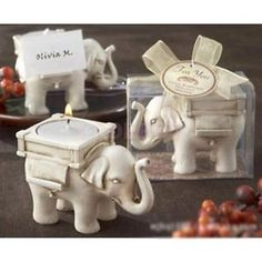 New & Boxed Lucky Elephant Tea Light Candle Holder Bridal Shower Wedding Favour