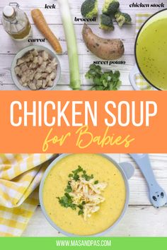 This chicken soup for babies is made with simple ingredients that baby will probably have tried already. It has a light, lean protein chicken, along with a low sodium chicken stock and mild vegetables like broccoli, sweet potato and carrot. Depending on baby's age (and how you are choosing to wean them), you can either blend it into a smooth soup or serve it as is with soft chunks that baby can mash with their gums. #babyfood #weaning #chickensoup #onepotrecipe Chicken Soup For Babies, Chicken Veggie Soup, One Pot Chicken, Baby Led Weaning Breakfast, Baby Led Weaning First Foods, Baby Weaning, Healthy Toddler Meals, Kids Meals, One Pot Meals