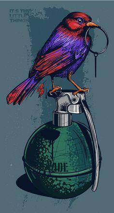 Digital drawing of a bird pulling a grenade pin. Dope Wallpapers, Gaming Wallpapers, Graffiti Wallpaper, Cartoon Wallpaper, Arte Assassins Creed, Madara Wallpaper, Dope Art, Street Art Graffiti, Art Drawings Sketches