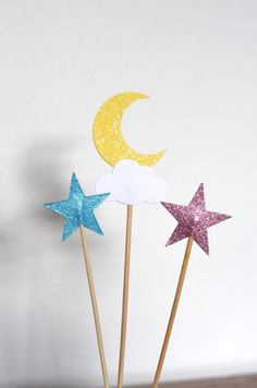 Twinkle Little Star Dessert Picks - moon, cloud and blue and pink stars with custom colors available