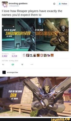 """And this proof that not ALL Reaper mains are edgy: 23 Pictures You'll Laugh At If You're An """"Overwatch"""" Fan Overwatch Comic, Overwatch Memes, Overwatch Fan Art, Overwatch Reaper, Dark Souls, Geeks, Getting Played, Gaming Memes, Gamer Humor"""
