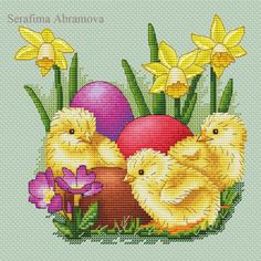 "Cross stitch design ""Easter Сhickens"" #sa_stitch #sa_pattern #pattern"