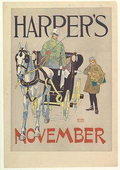 Edward Penfield (American, 1866–1925). HARPER'S / NOVEMBER, 1893. The Metropolitan Museum of Art, New York. Gift of Bessie Potter Vonnoh, 1941 (41.12.66) #horses