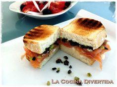 Sandwich de salmón y queso de cabra