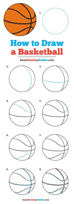 How to Draw a Basketball – Really Easy Drawing Tutorial Learn How to Draw a Basketball: Easy Step-by-Step Drawing Tutorial for Kids and Beginners. See the full tutorial at easydrawingguides. Easy Drawing Tutorial, Drawing Tutorials For Kids, Basic Drawing For Kids, Drawing Ideas, Drawing Lessons, Drawing Techniques, You Draw, Learn To Draw, Learn Drawing