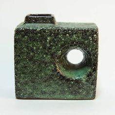Vintage Dutch Chimney / Hole Vase Green Fat Lava by Afina