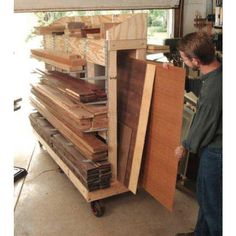 A downloadable plan for a Rolling Lumber Rack, designed for garage workshops.